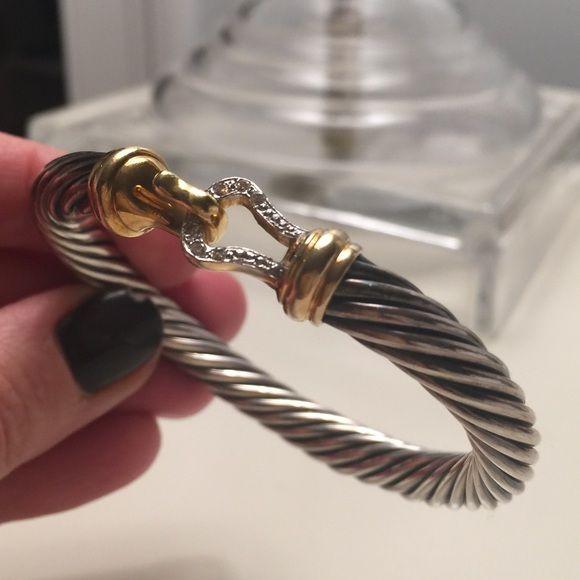 David Yurman Cable Buckle bracelet with diamonds Cable Buckle bracelet. Gently work - like new. Diamonds in buckle. 7mm - size medium. David Yurman Jewelry Bracelets