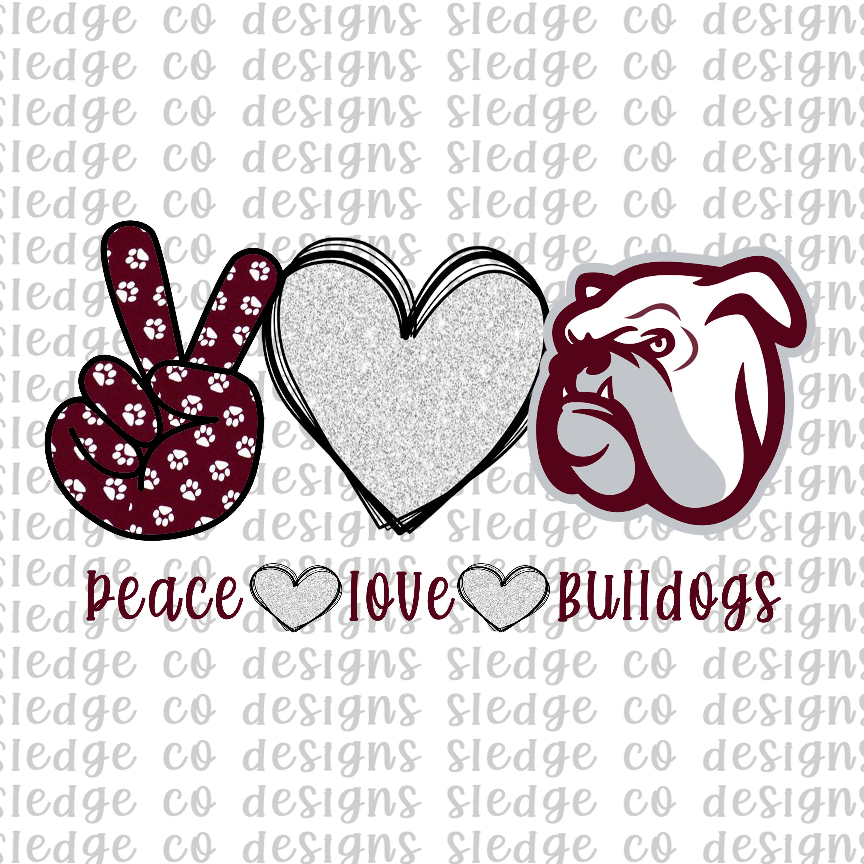 Peace Love State Ms State Bulldog Bulldog Sublimation Png Digital Download Peace Love Bulldog Glitter Bulldog Sub Peace And Love Peace Sign Art Sticker Art
