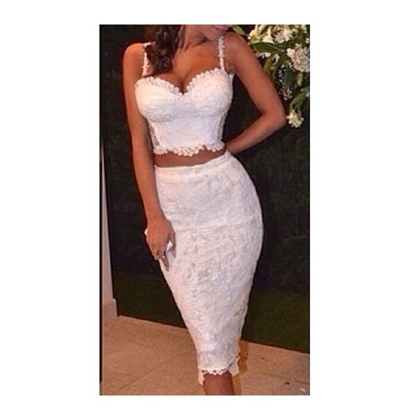 7e8734256eee Rotita White Lace Two Piece Bodycon Midi Dress ( 30) ❤ liked on Polyvore  featuring dresses
