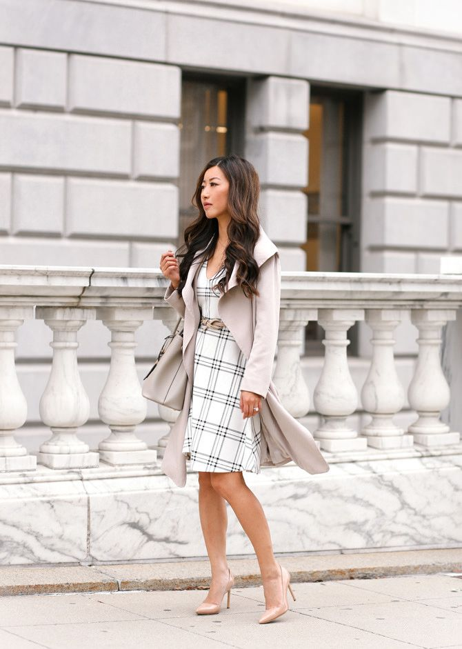 Cascading Classics: draped trench coat   windowpane dress | Fall ...