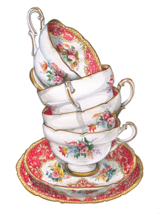 Teacup Stack Floral Png Transparency Overlay For Personal Use Tea Cup Art Tea Cups Tea Illustration