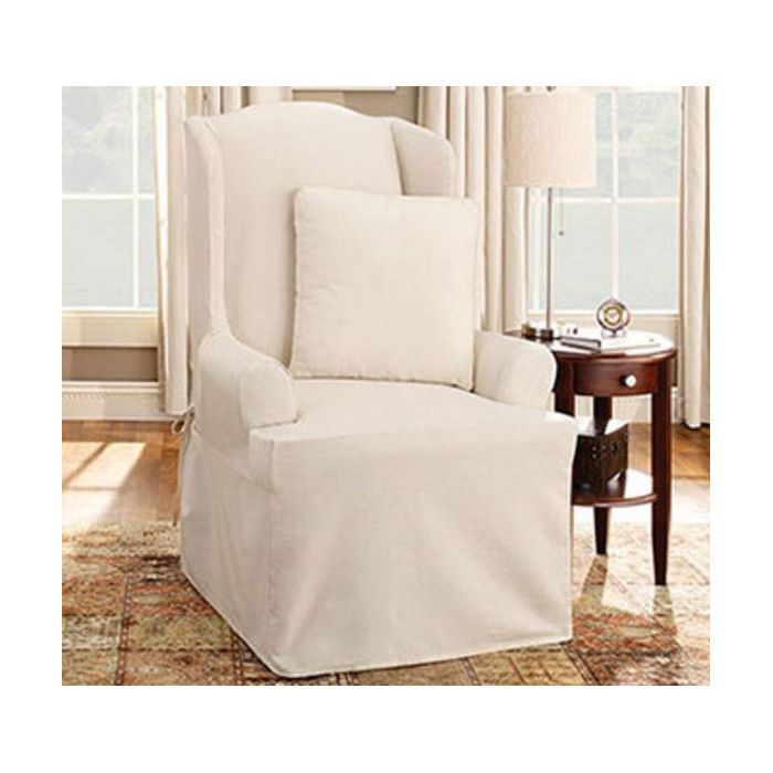 Charmant Cotton Duck Wing Chair T Cushion Slipcover