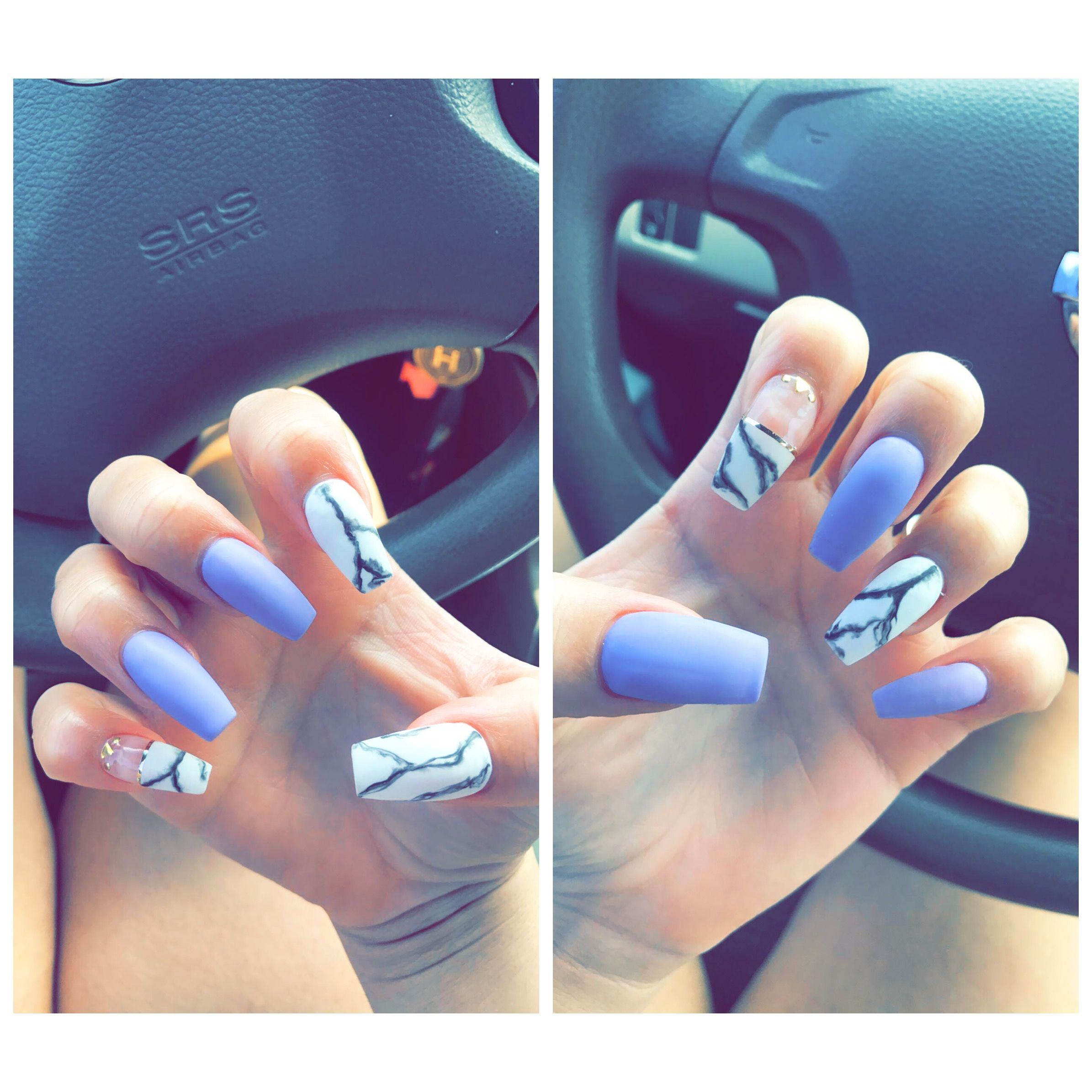 Cute Nails Acrylic Nails Marble Nails Purple Nails With Design Gold