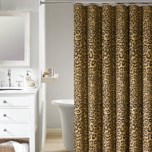 Gold Safari Leopard Cheetah Animal Print Fabric Shower Curtain