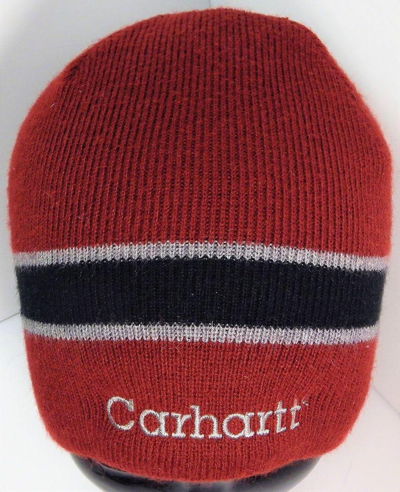 CARHARTT Beanie Maroon Embroidered Logo Knit Cap Winter Hat FREE SHIPPING   Carhartt ad4c46d2073