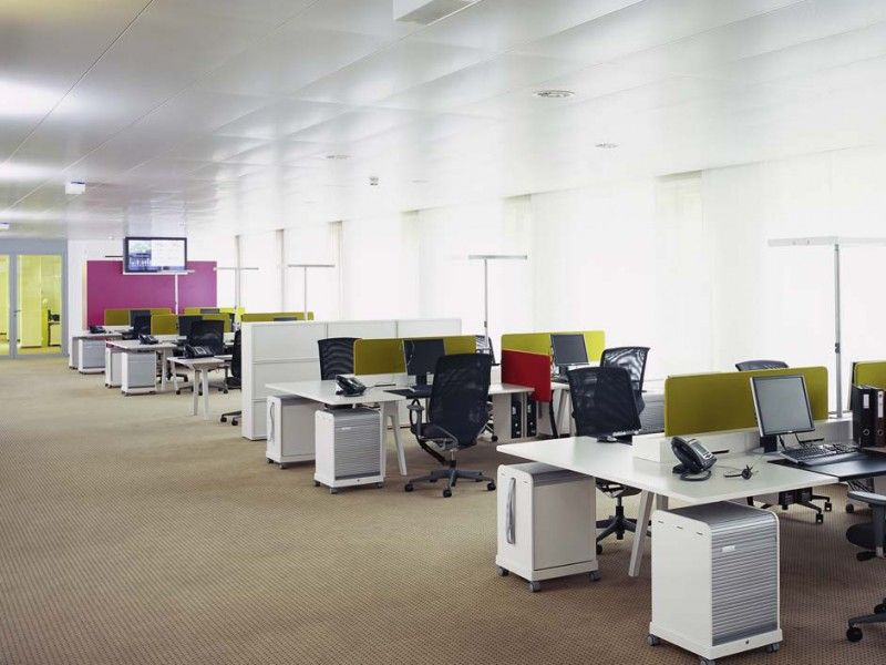 The open space is a classic open plan office where a for Interior design of office space