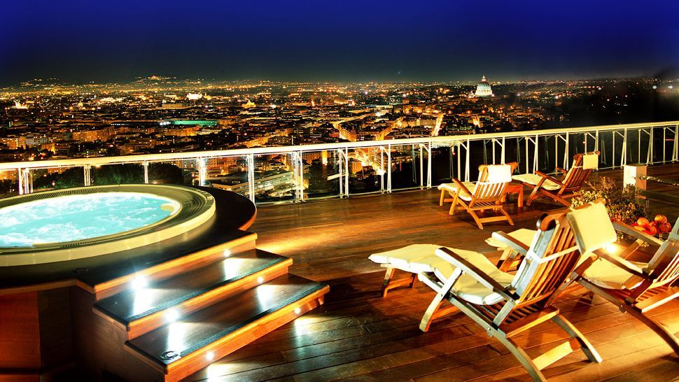 Enjoying a view of Rome and the Vatican from Rome Cavalieri