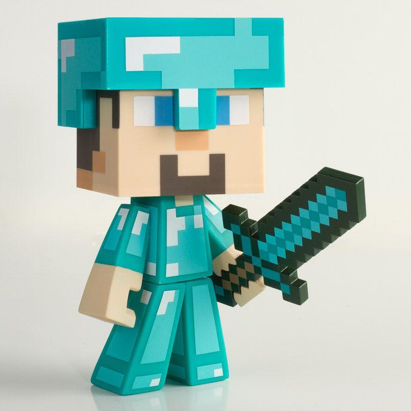 """Minecraft Diamond Steve Adventure 3/"""" Figure Mojang Jinx Series 1"""