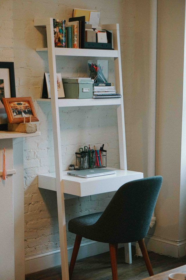Home Office Leaning Desk Home Office In A Small Apartment Nyc Apartment Office Decor Diy Small Apartment First Apartment Decorating Small Apartment Nyc