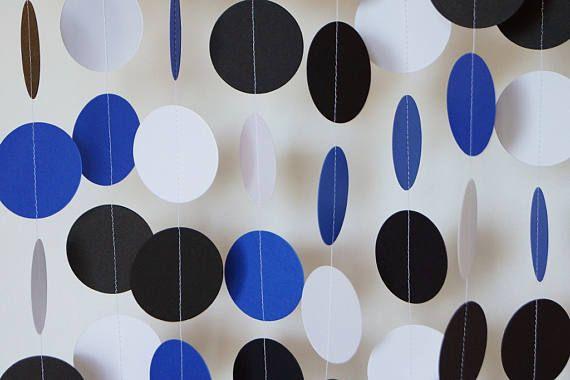 Royal Blue White Black Garland Circle Paper Garland Blue Party