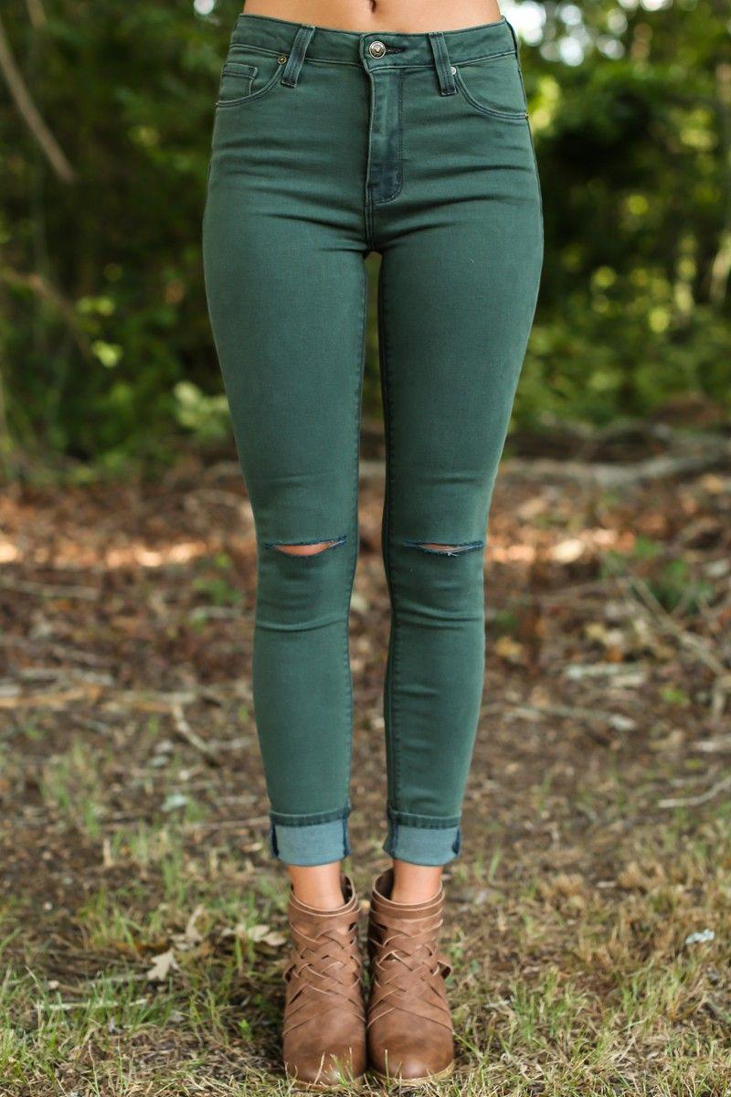 Off She Goes Pine Green Skinny Jeans at reddressboutique.com