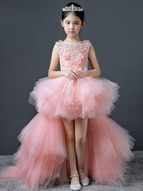Mesh Applique Layered Bubble Trailing Long Dress   Vestidos de niñas ...