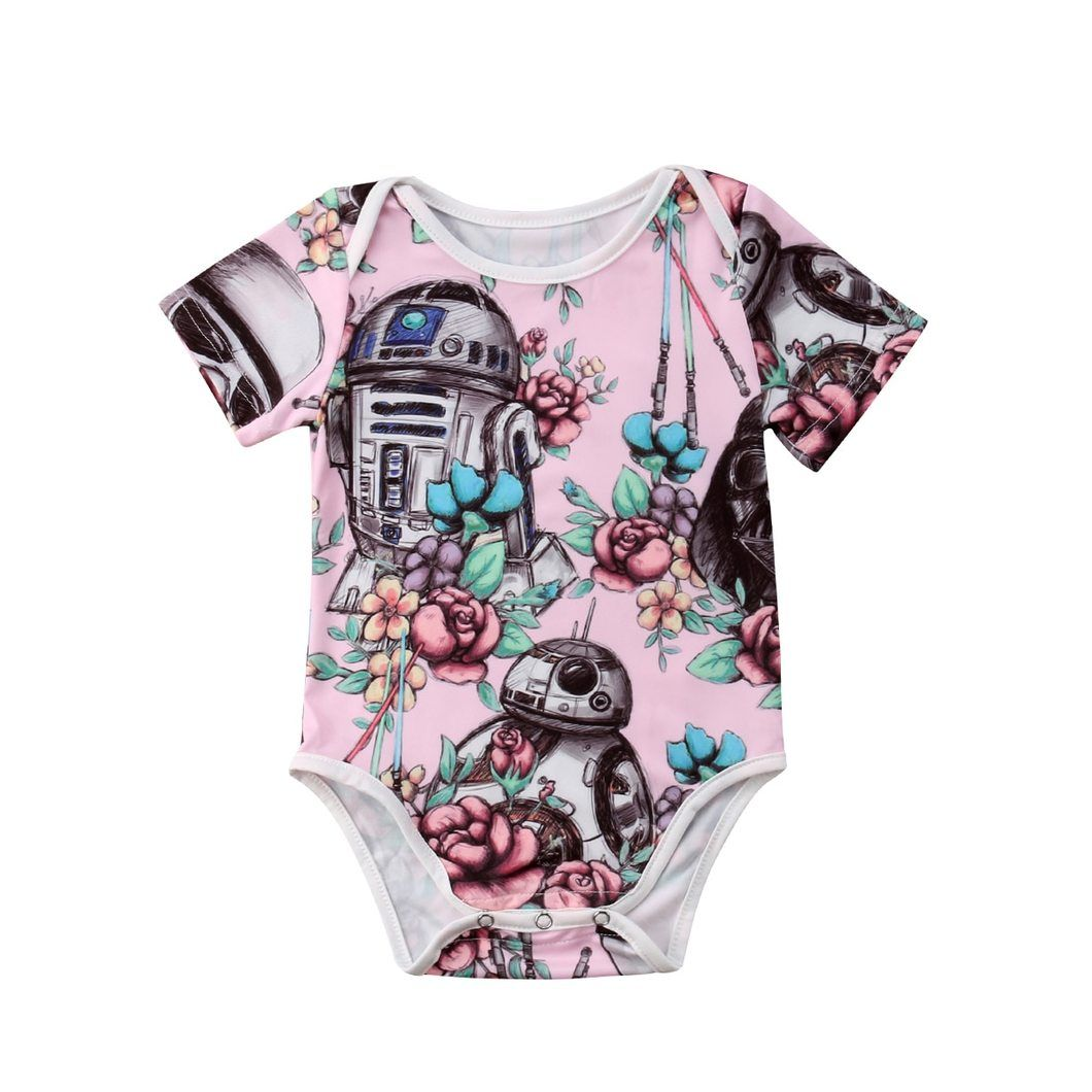 Star Wars Newborn Baby Girls Cotton Romper Bodysuit Summer Casual Clothes Outfit