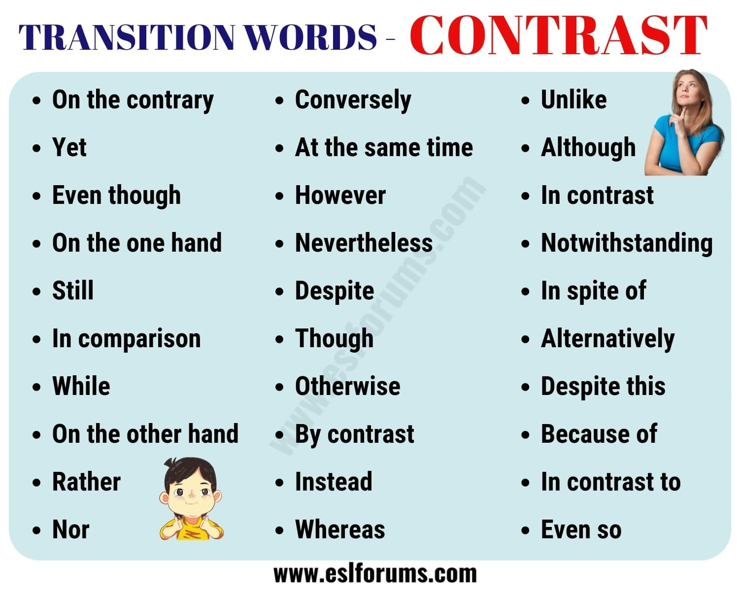 List Of 30 Useful Contrast Transition Words For Writing