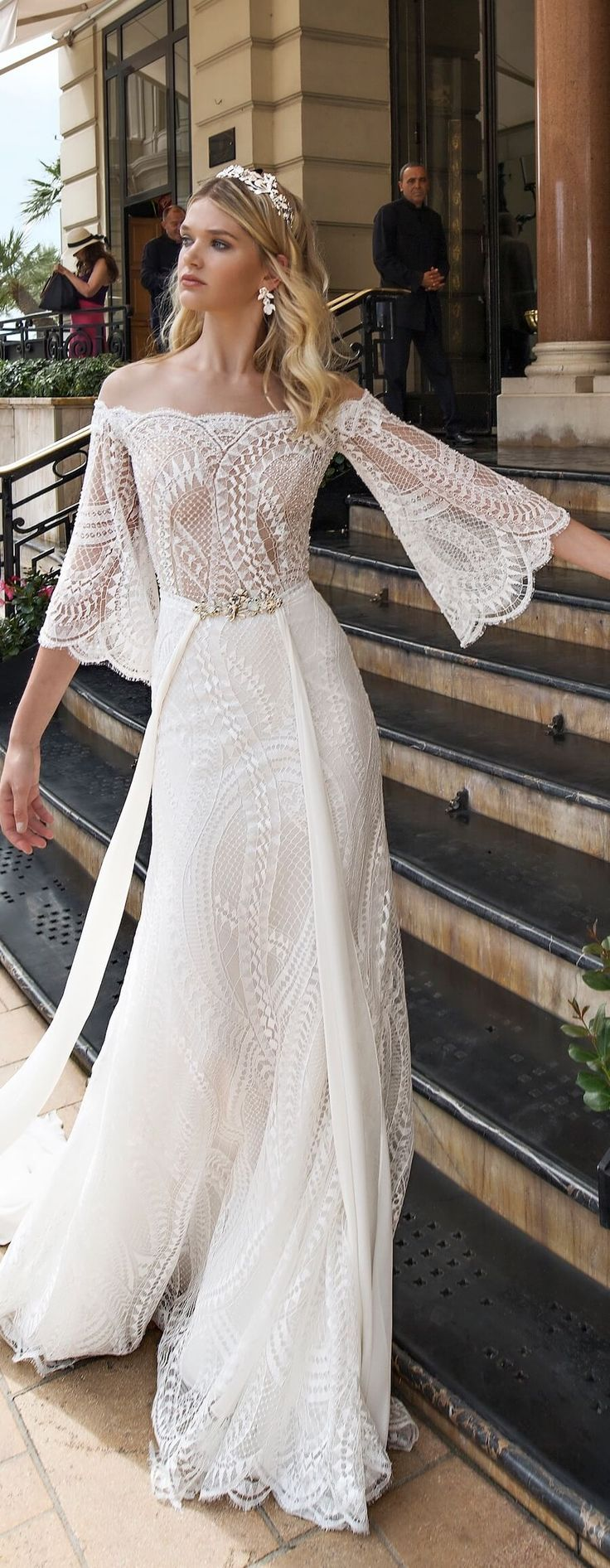30 Bohemian Wedding Dresses That Will Take Your Breath Away Long Sleeve Wedding Dress Lace Wedding Dresses Summer Wedding Dress [ 1892 x 736 Pixel ]
