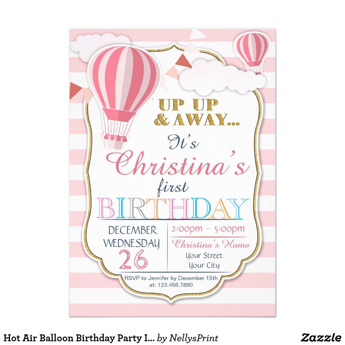 Hot Air Balloon Birthday Party Invitation | Lindens 1st Birthday ...