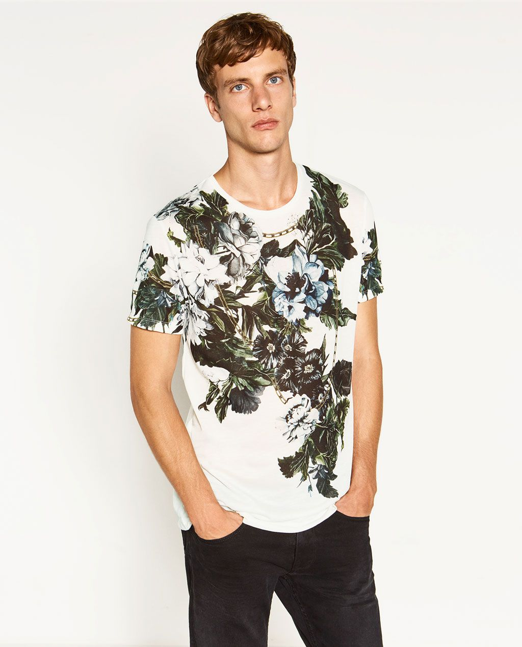 aba58ce84783 ZARA - MAN - FLOWERS T-SHIRT | Fashion | Mens tops, Fashion, Mens ...
