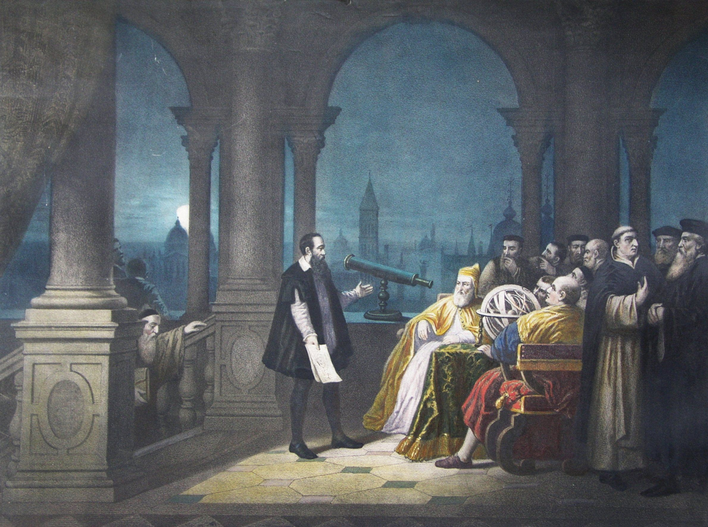 a 1754 painting by h j detouche shows galileo galilei. Black Bedroom Furniture Sets. Home Design Ideas