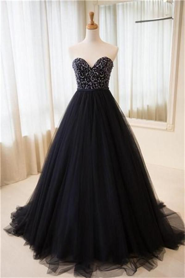 Navy Blue Sweetheart Lace Up Beaded Ball Gown Princess Prom Dresses ...