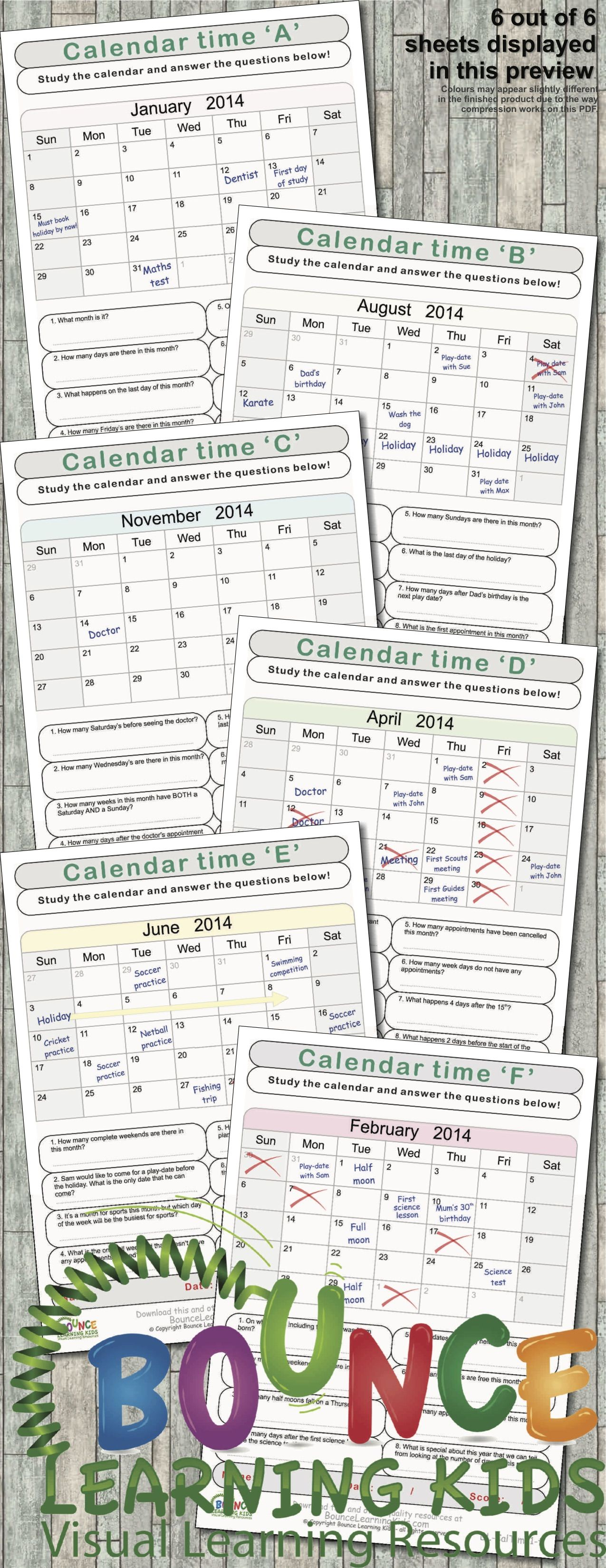 Calendar Time 6 Visual Perception Sheets