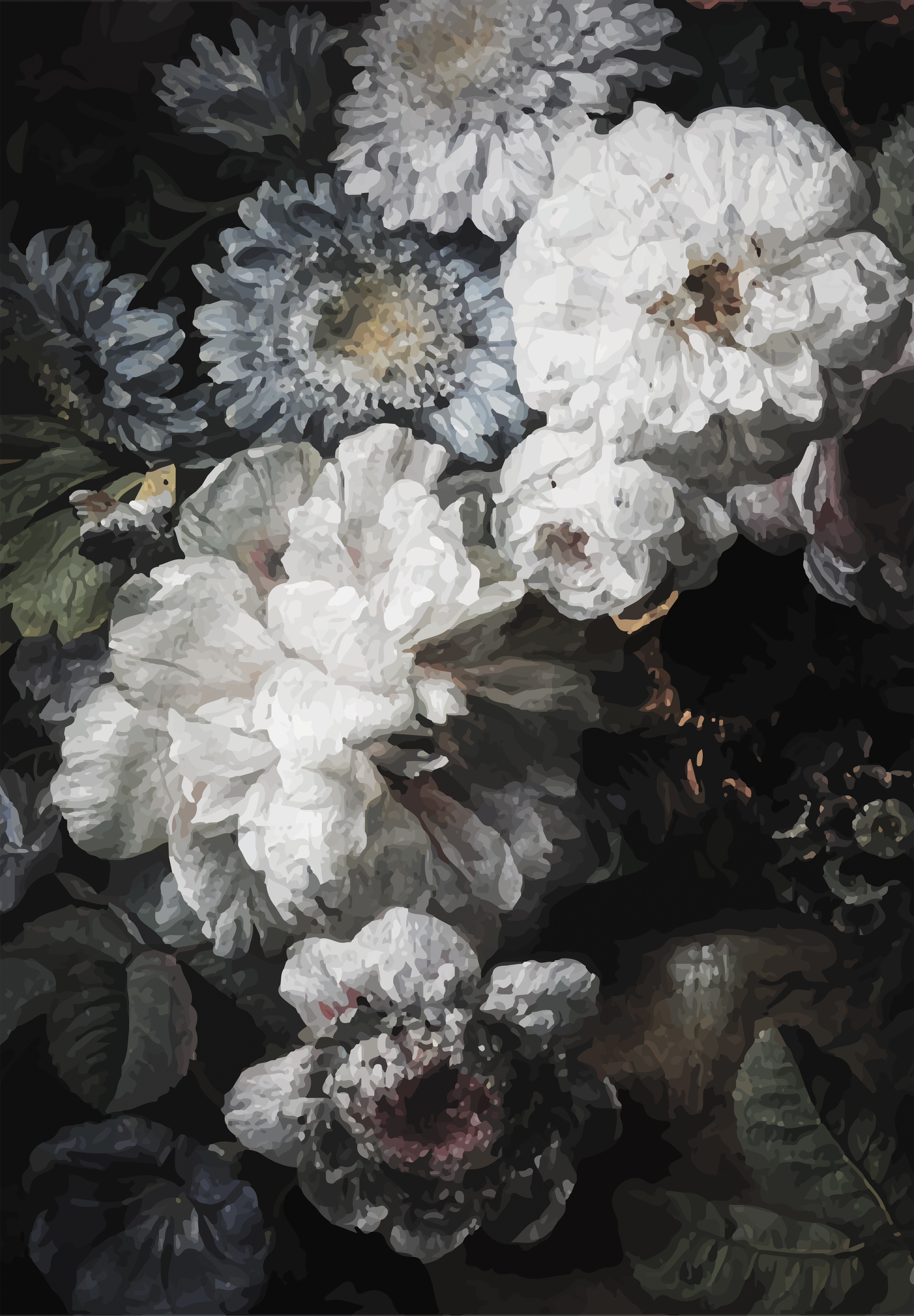 Lulu Georgia Anewall Dark Floral Wallpaper Mural Art Painting