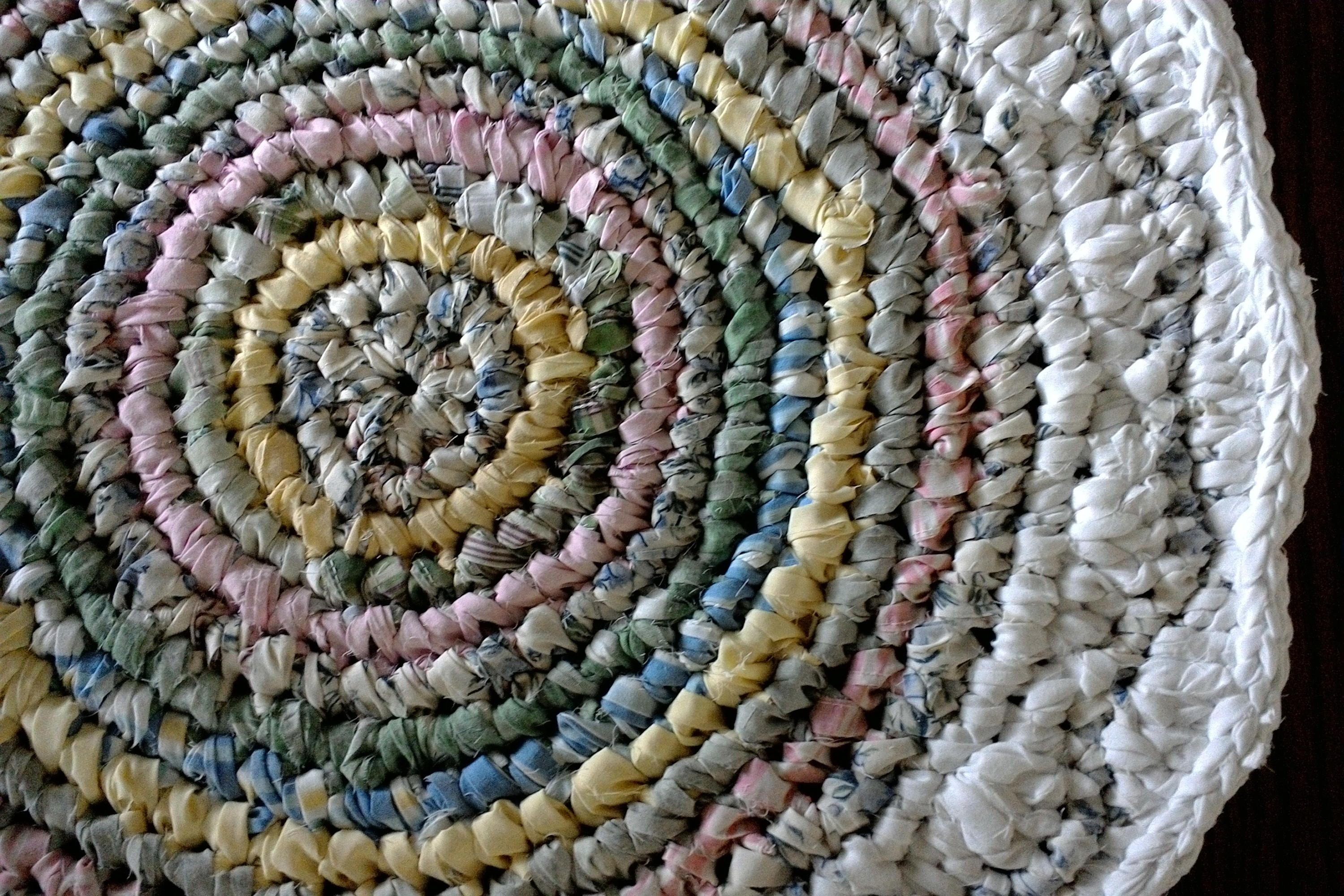 Round Rag Rug 24 Small White Pastel Colored Rag Rug Crocheted