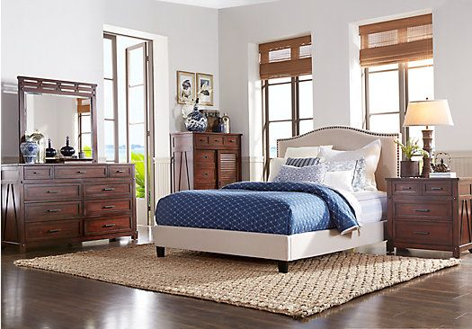 Panama Jack Eco Jack Walnut 5 Pc Queen Upholstered Bedroom $944 00