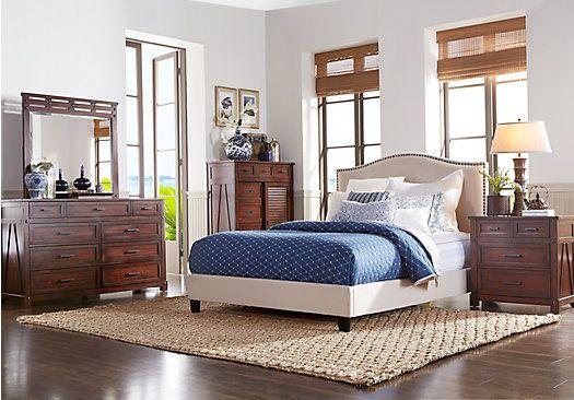 Panama Jack Eco Jack Walnut 5 Pc Queen Upholstered Bedroom $944 00
