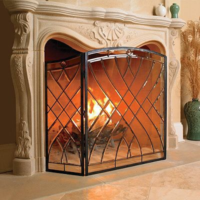 victoria beveled glass fireplace screen fireplaces glass rh pinterest com