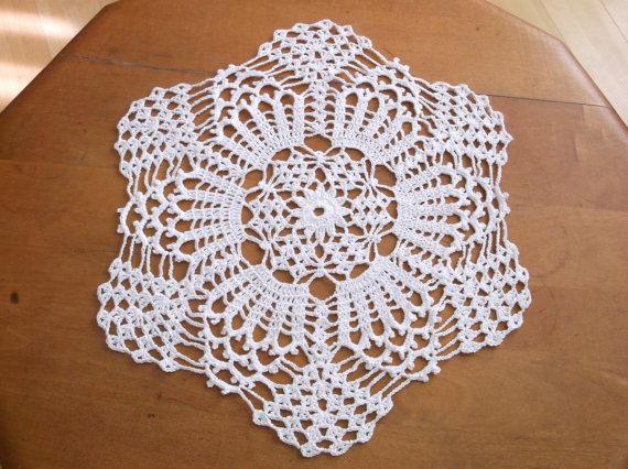Crochet Doily In White Hexagon Doily Round Doily Doily White