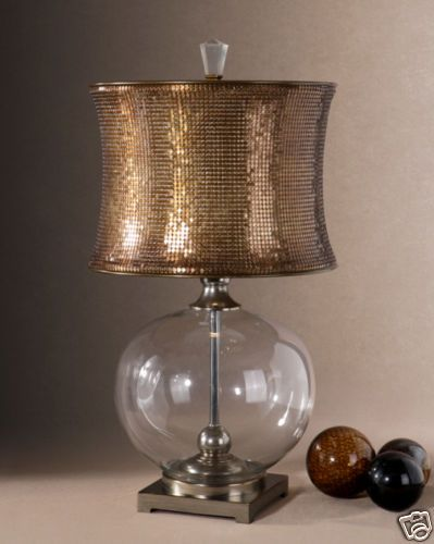 Copper bronze sequin mesh shade glass body table lamp ebay copper bronze sequin mesh shade glass body table lamp ebayinteriors thirtyeight aloadofball Image collections