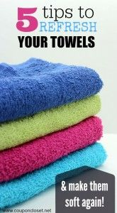 Freshen up those old towels - learn how to soften towels without fabric softener with these 5 tips. How to remove the mildew smell from towels easily.