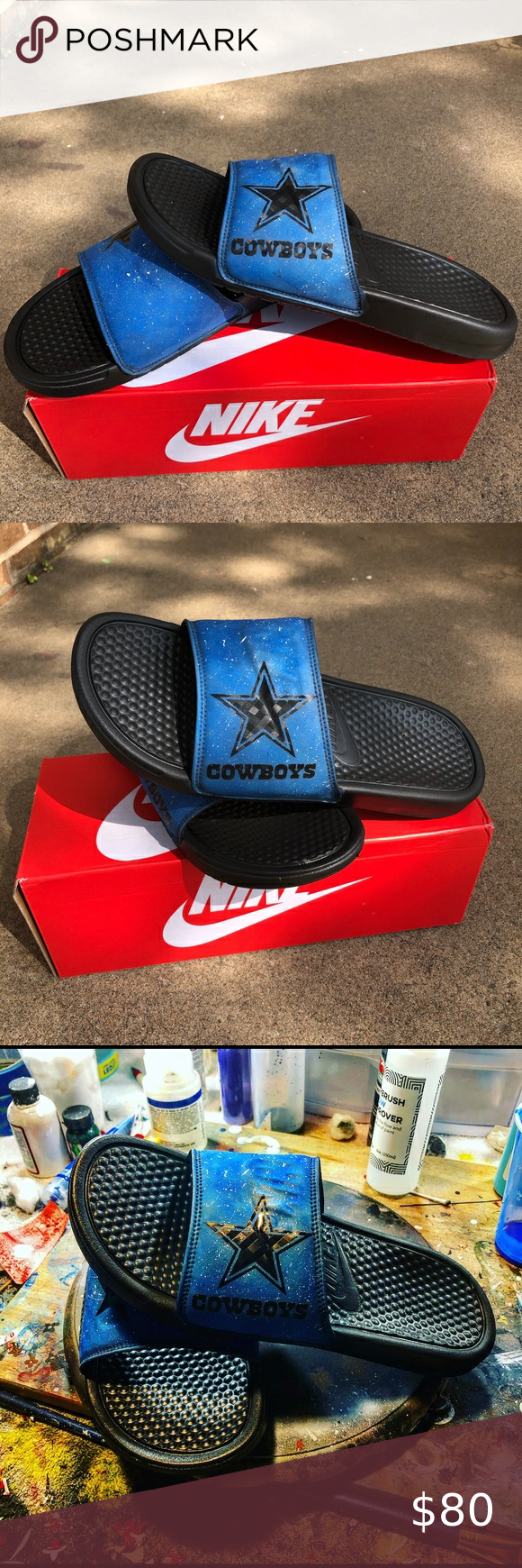 cowboys nike slides