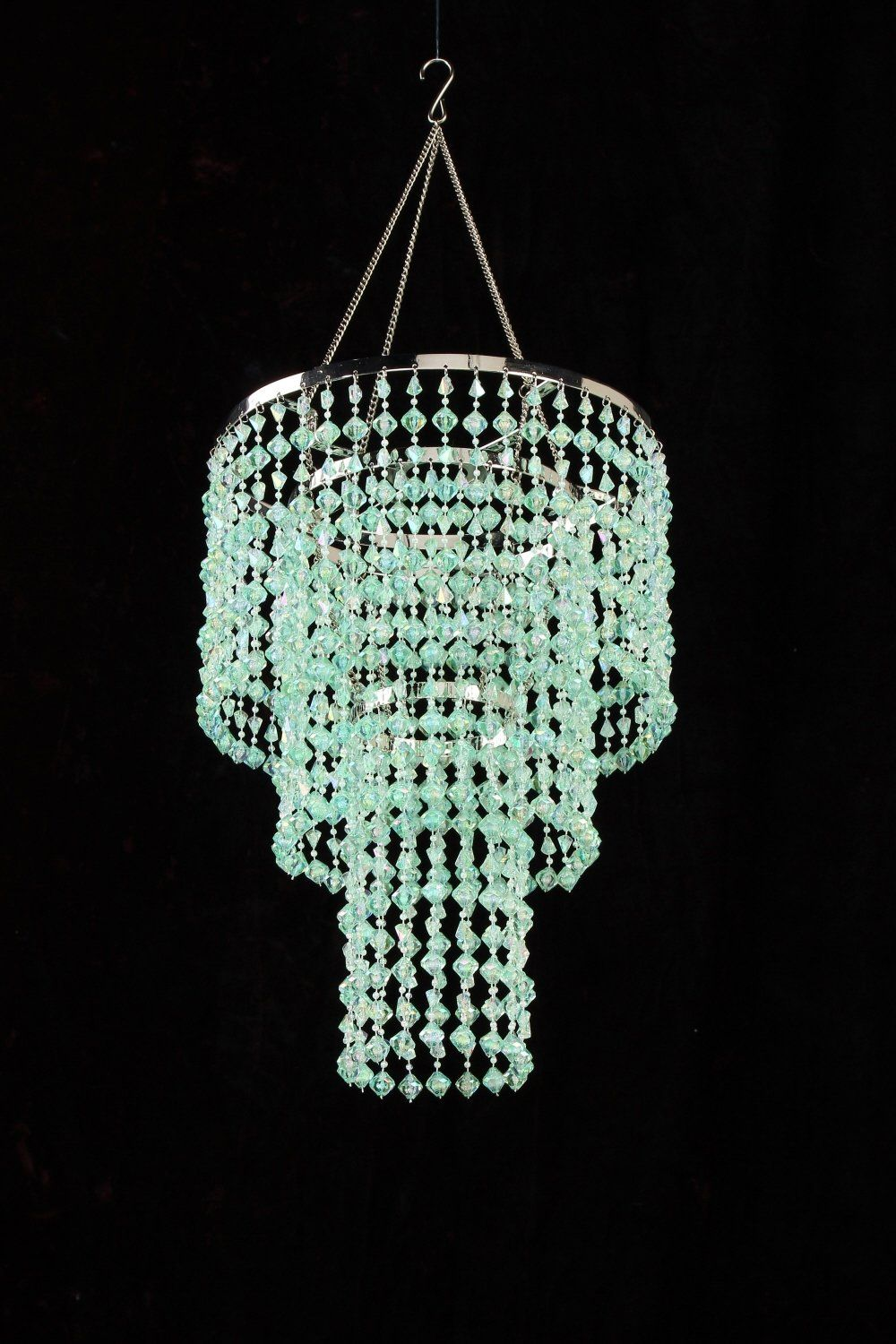 Green Mint Chandelier Retro Beaded Light Hanging Lamp Hll14 Gm