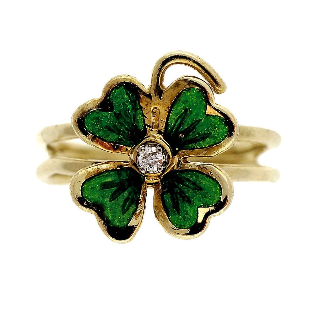 fccc21dca Estate Green Enamel 4 Leaf Clover 14k Diamond Ring in Jewelry & Watches,  Vintage & Antique Jewelry, Other Vintage Jewelry   eBay