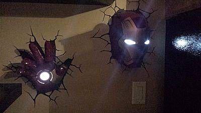 Iron man wall lights nerdy stuff pinterest movie theater rooms marvel 3d deco superhero wall lights mozeypictures Gallery