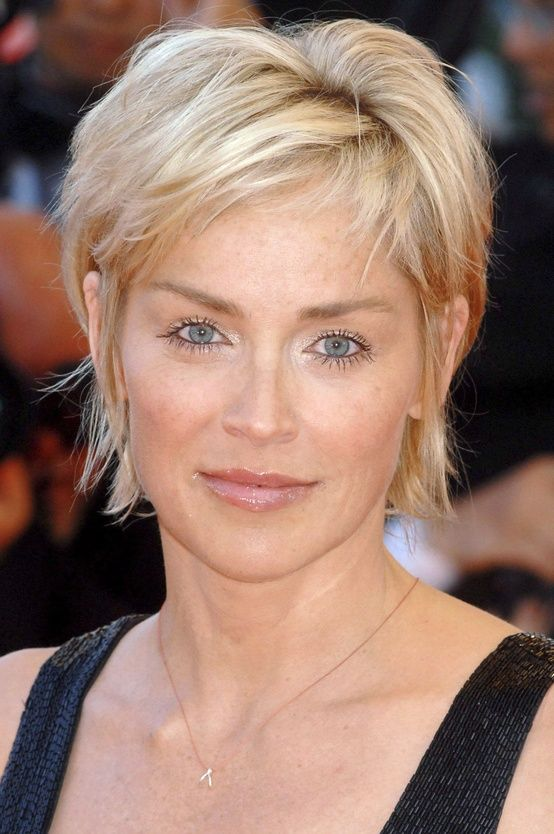 Sharon Stone At 54 Short Hair Styles Easy Thick Hair Styles Hair Styles