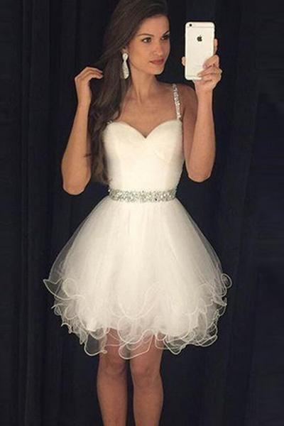 aa110af4a2 Cute Sweetheart Tulle Short Mini Beading Homecoming Dresses  homecoming   homecomingdresses  dresses  short  angrila