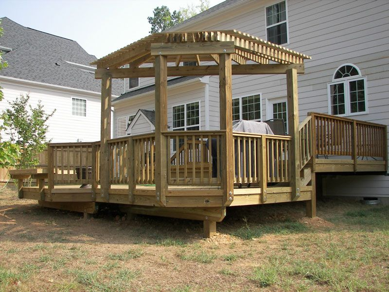 Pergola with angled back outdoor deck and porch for How to build a corner pergola