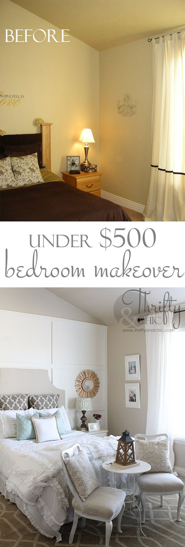 Bathroom Renovation Under $500 square board and batten wall treatment and master bedroom makeover
