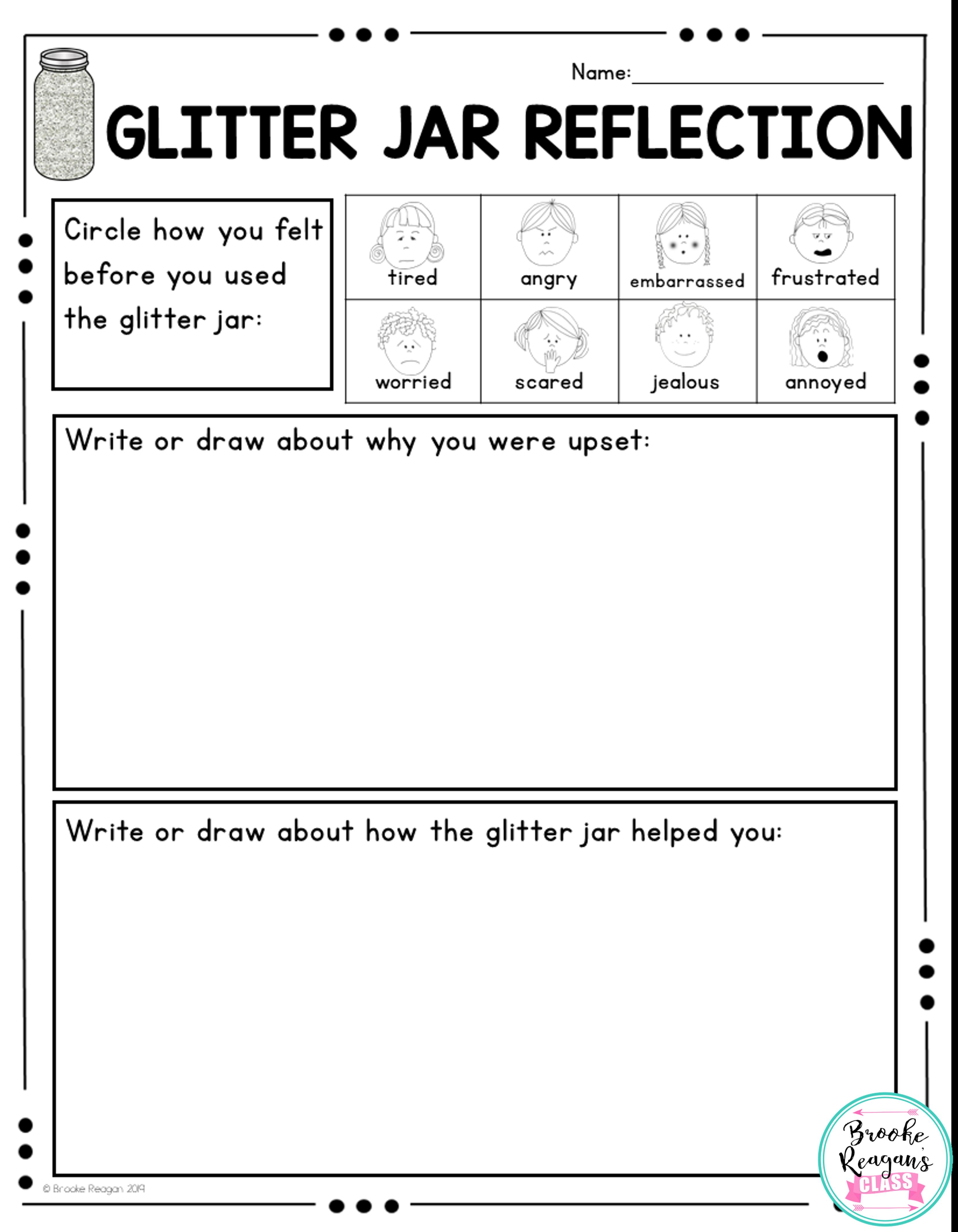 Glitter Jar Calm Down Strategy Social Story Visual