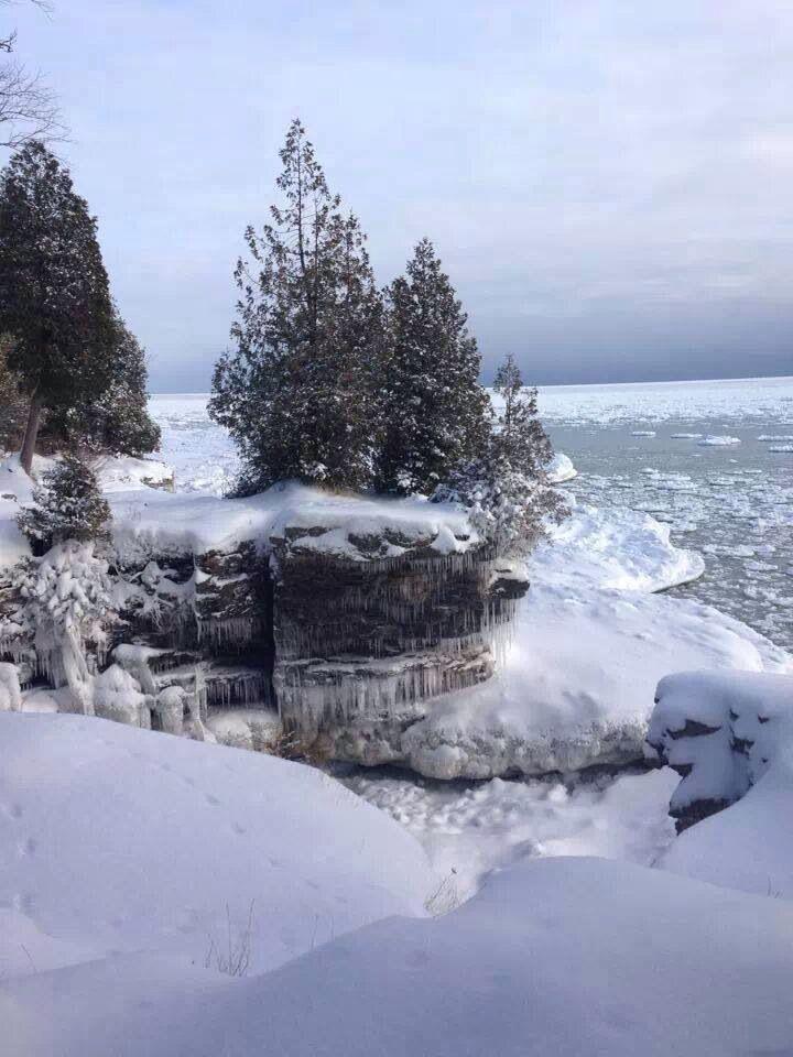Cave Point Door County Door County Wi Winter Landscape Door County Wisconsin
