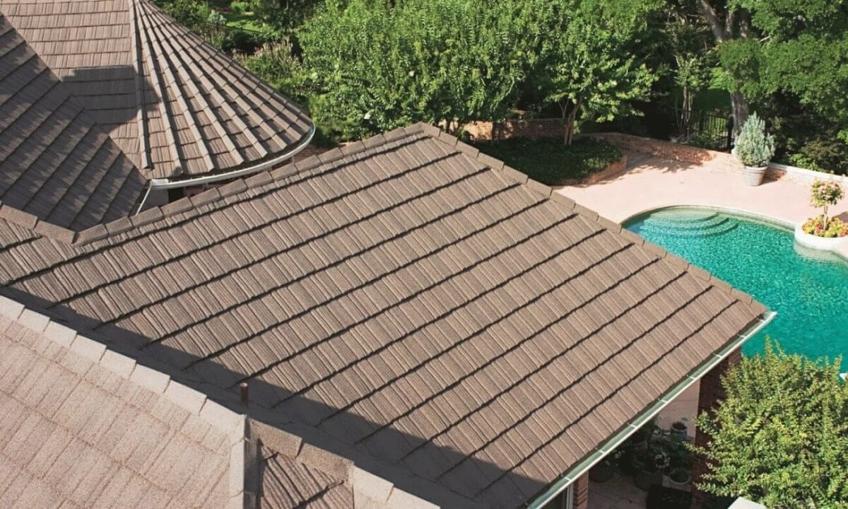 Stone Coated Metal Roof Tile Cost Design Options Advantages Metal Roof Tiles Metal Roof Roofing Systems