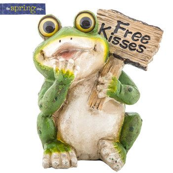 "FIGURINES GARDEN STATUE /""FANCIFUL FROG/"" STONE SCULPTURE AGED STONE FINISH"