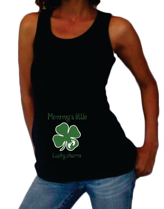 8e4c2aaf7 Very Funny Mommys little Lucky charm maternity tank top or shirt. Black.  Perfect for St. Patricks Day! Our shirts are true maternity shirts