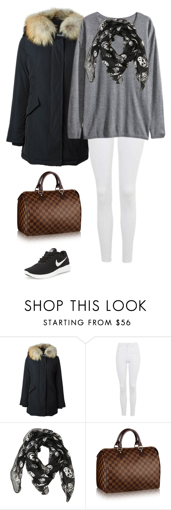 """""""autumn """" by juliachristinaxo ❤ liked on Polyvore featuring Woolrich, Topshop, H&M, Alexander McQueen and NIKE"""