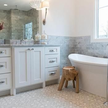 white and gray bathroom with gray cement tiles (with