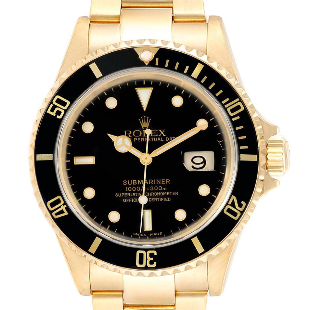 Rolex Submariner 18K Yellow Gold Black Dial 40mm Mens Watch 16618 #rolexwatches