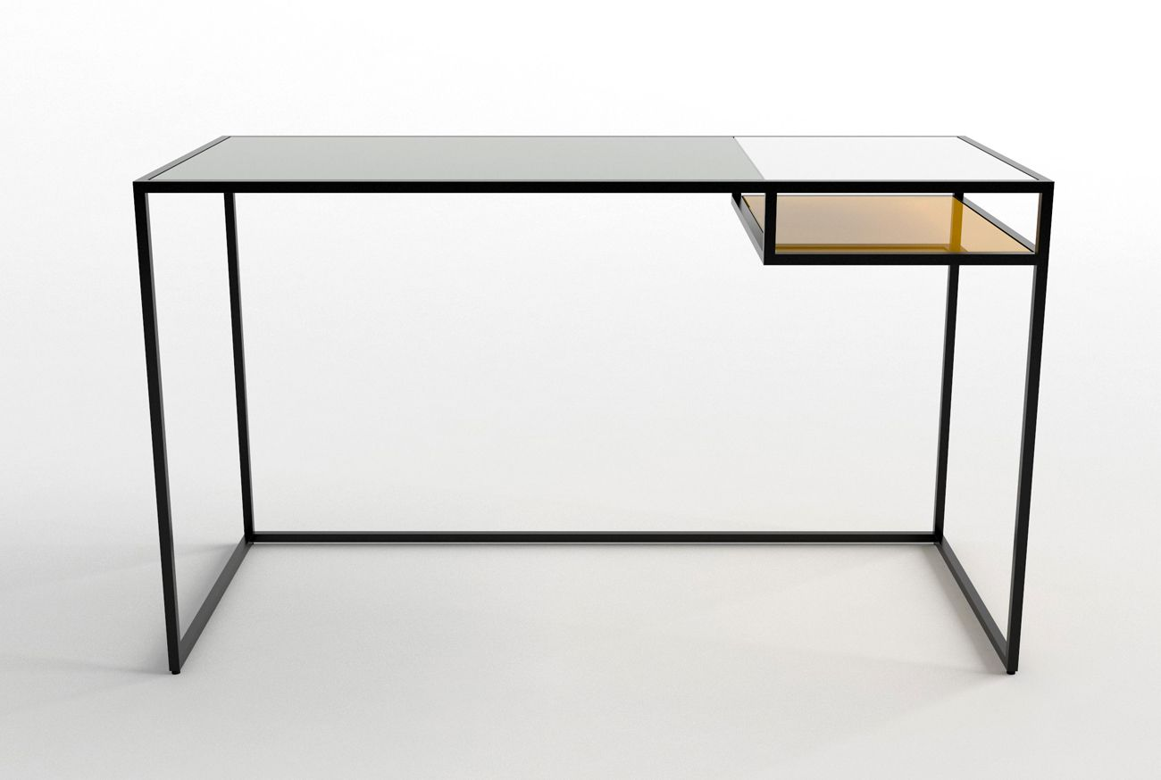 phase design keys desk powder coated steel base with spandrel glass surfaces offered in - Designer Glass Desk