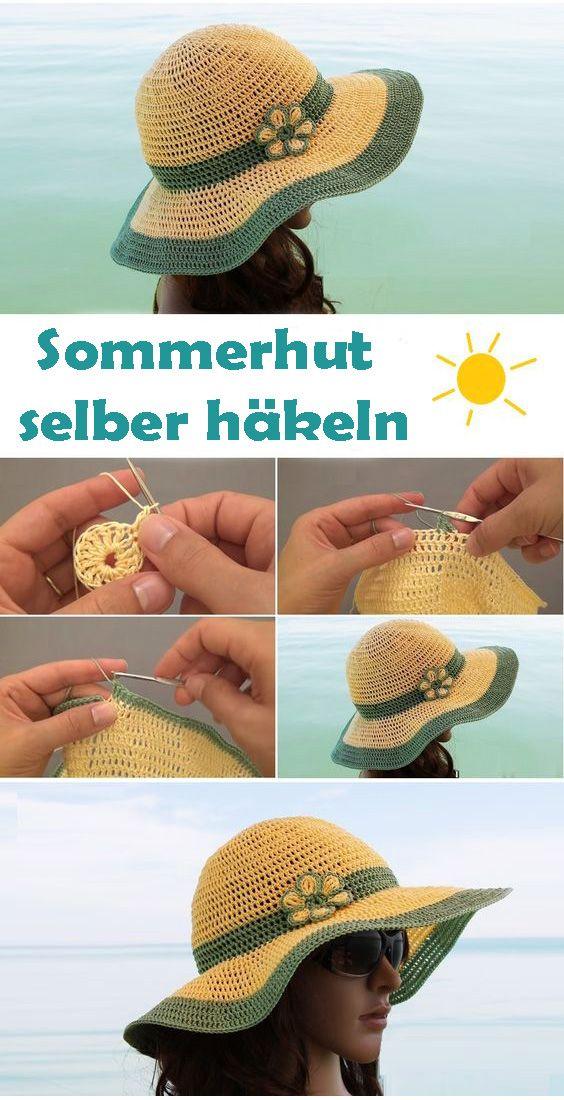 Häkeln Sie den Sommerhut selbst – kostenlose und einfache Häkelanleitung   – Häkeln, Sticken & Stricken